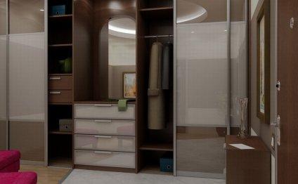 Зеркальный встроенный шкаф для